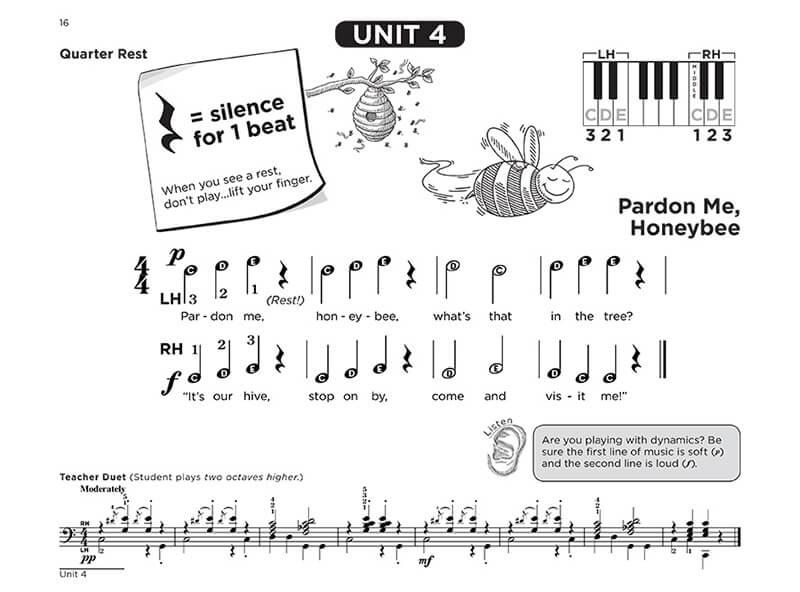"""Interactive Piano Method® - 1A sample page """"Pardon Me, Honeybee"""""""