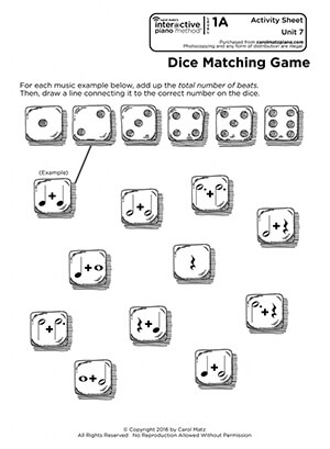 "Interactive Piano Method® - Activity Sheet Sample ""Dice Matching Game"""