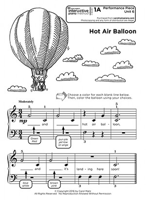 "Interactive Piano Method® - Performance Piece Sample ""Hot Air Balloon"""
