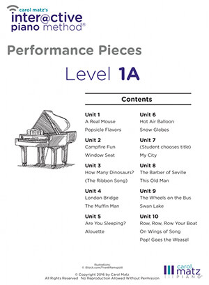 Interactive Piano Method® - METHOD LEVELS 1A Performance Pieces Contents