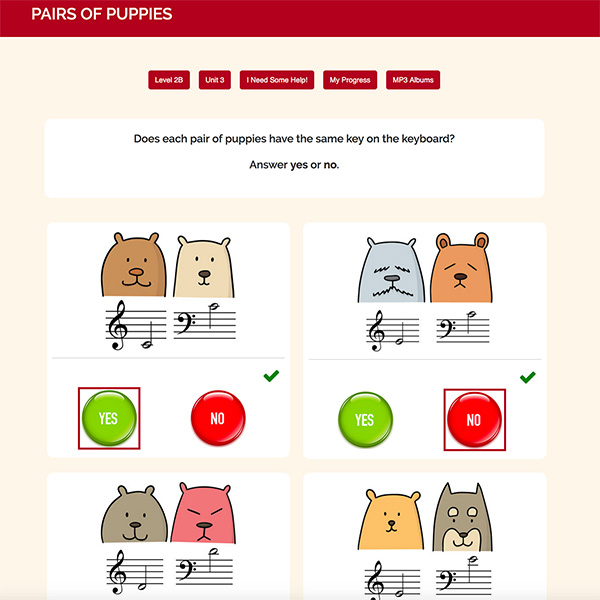 "Interactive Piano Method® - 2B Sample Activity ""PAIRS OF PUPPIES"""