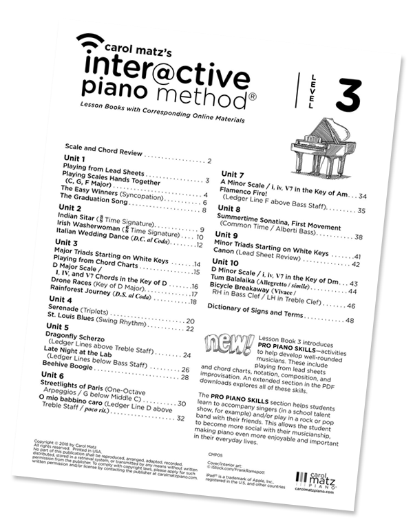 Carol Matz's Interactive Piano Method - Level 3 Table of Contents