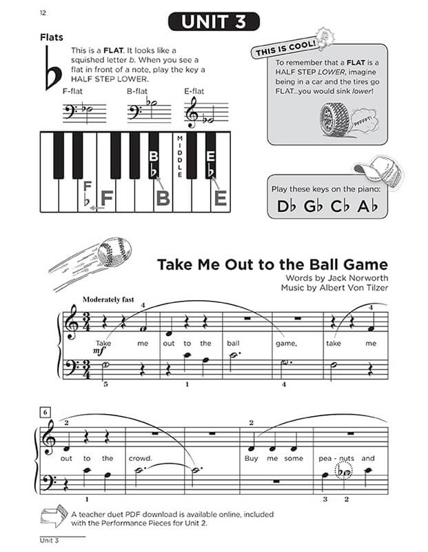 "Interactive Piano Method® - 1B sample page ""Take Me Out to the Ball Game"""