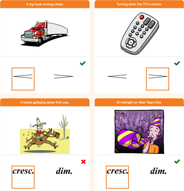 "Interactive Piano Method® - 2A Sample Activity ""Crescendo or Diminuendo"""