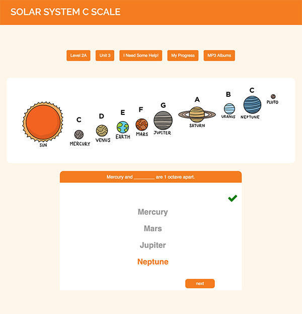 "Interactive Piano Method® - 2A Sample Activity ""Solar System"""