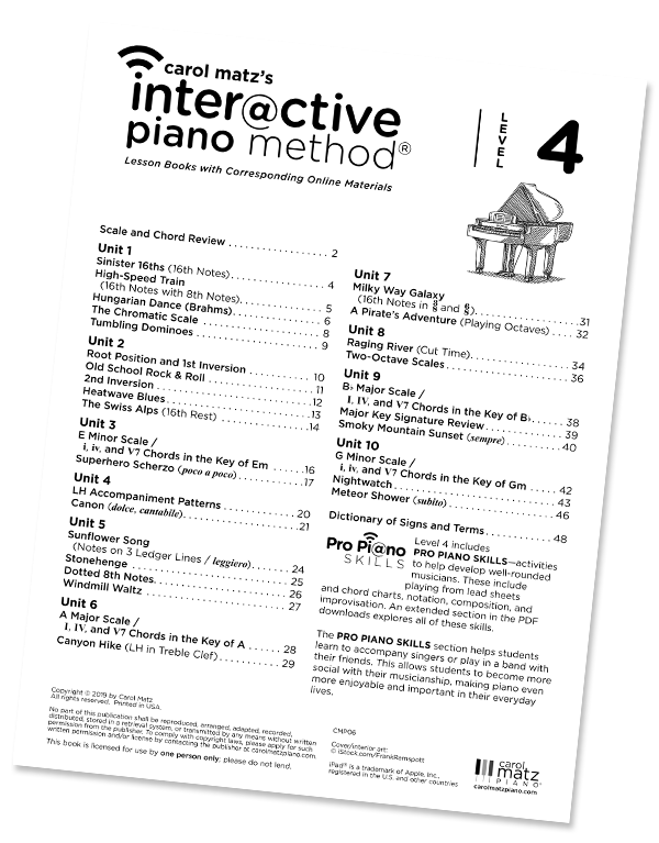 Carol Matz's Interactive Piano Method: Level 4 – Table of Contents